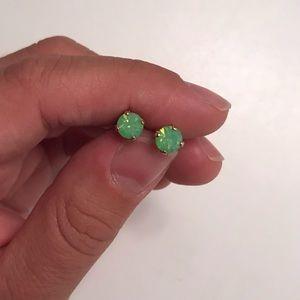 Rose Gold/Green Opal Earrings